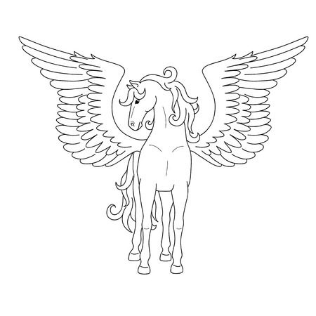 Isolated black outline standing pegasus on white background. Front view. Curve lines. Page of coloring book.