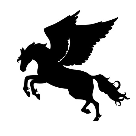 Isolated black silhouette galloping, jumping pegasus on white background. Side view of horse with wings. Illustration