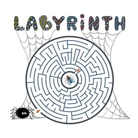 Round black labyrinth with spider, fly and web on white background. Children s maze. Game for kids. Children s puzzle for halloween. Help the spider find the way to the fly