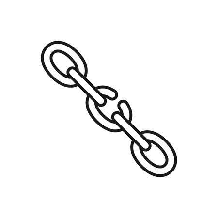 Black isolated outline icon of broken chain on white background. Line Icon of chain Weak link