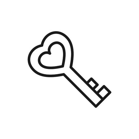 Schwarzes isoliertes Umrisssymbol des Schlüssels in Herzform auf weißem Hintergrund. Liniensymbol des Schlüssels. Symbol der Liebe