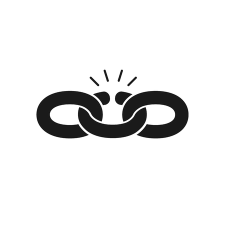 Black isolated icon of broken chain on white background. Silhouette of chain. Weak link. Flat design