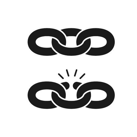 Icono negro aislado de cadena y cadena rota sobre fondo blanco. Conjunto de silueta de cadena. Unión debil. Diseño plano