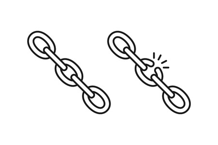 Black isolated outline icon of chain and broken chain on white background. Set of Line Icon of chain. Weak link Vector Illustration