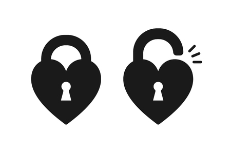 Black isolated icon of locked and unlocked heart shape lock on white background. Set of Silhouette of locked and unlocked heart shape lock. Flat design Foto de archivo - 111002047