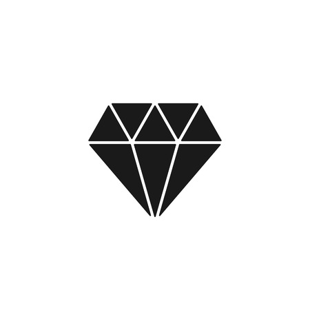 Black isolated icon of diamond on white background. Silhouette of brilliant. Flat design Vectores