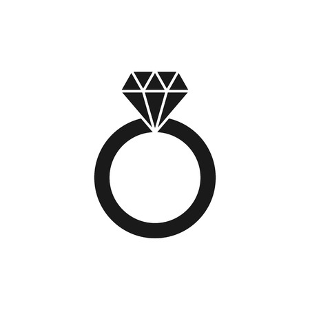 Black isolated icon of wedding ring with diamond on white background. Silhouette of wedding ring. Flat design