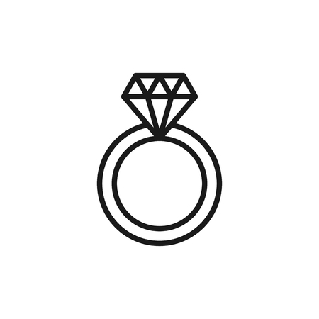 Black isolated outline icon of wedding ring with diamond on white background. Line Icon of wedding ring Illustration