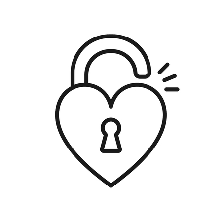 Black isolated outline icon of unlocked heart shape lock on white background. Line Icon of heart shape lock