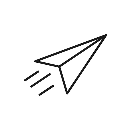Black isolated outline icon of paper airplane on white background. Line Icon of paper airplane