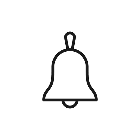 Black isolated outline icon of bell on white background. Line Icon of bell