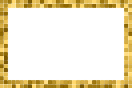 Golden abstract rectangular frame with copy space for text or photo. Geometric print composed of golden squares on white background. Imitation of gold mosaic.