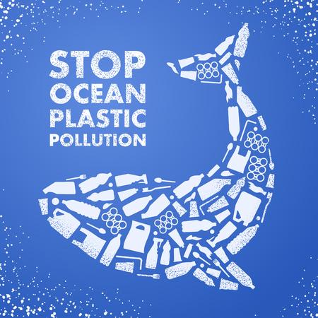 Detener la contaminación plástica del océano. Cartel ecológico. Ballena compuesta de bolsa de residuos de plástico blanco, botella sobre fondo azul. Ilustración de vector