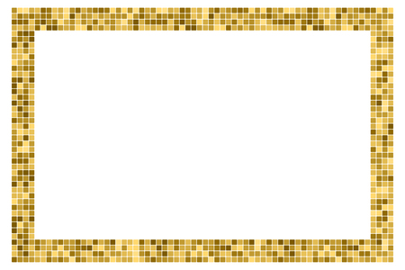 Golden abstract rectangular frame with copy space for text or photo. Geometric print composed of golden squares on white background. Imitation of gold mosaic