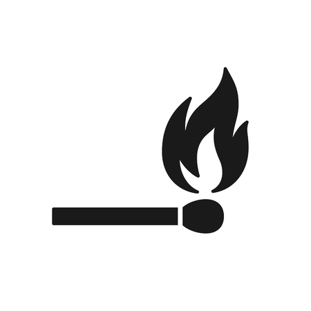 Black isolated icon of matchstick with fire on white background. Silhouette of match stick with flame. Flat design Ilustração