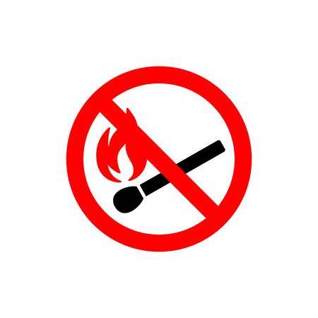 No open fire burning symbol. Black matchstick with red flame in red crossed circle. Forbidden sign with burning matchstick. Prohibition sign