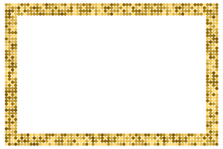 Golden abstract frame with copy space for text or photo. Geometric print composed of golden circles on white background. Imitation of gold mosaic