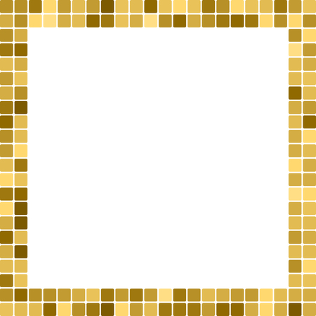 Golden abstract frame, border with copy space for text or photo. Geometric print composed of big golden squares on white background. Imitation of gold mosaic