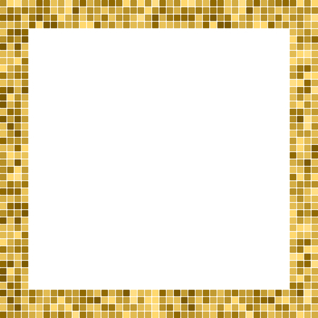 Golden abstract frame with copy space for text or photo. Geometric print composed of golden squares on white background. Imitation of gold mosaic
