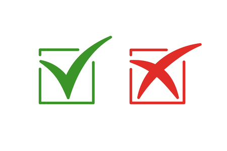 Set of color isolated icons of cross and tick on white background. Green and red icon of check box. Green yes. Red no Illustration