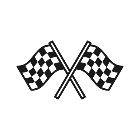 Black isolated outline icon of checkered flags on white background. Line Icon of two waving sport flags