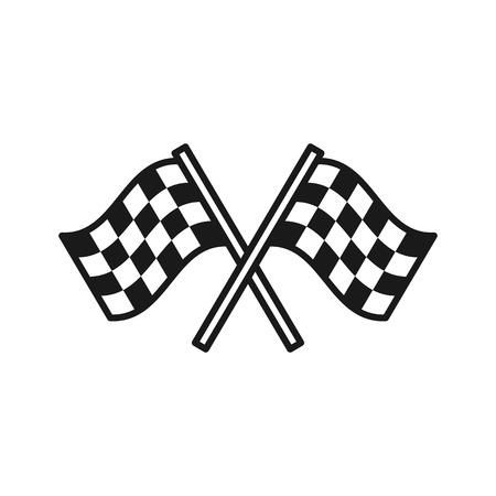 Zwart geïsoleerd overzichtspictogram van geblokte vlaggen op witte achtergrond. Lijnpictogram van twee wuivende sportvlaggen
