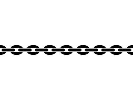 Black isolated silhouette of chain on white background. Seamless pattern of chain. Symbol of strength Ilustração