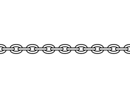 Schwarze isolierte Umrisskette auf weißem Hintergrund. Nahtloses Muster der Linienkette. Symbol der Stärke