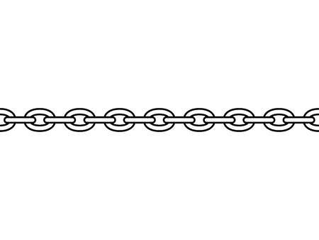 Black isolated outline chain on white background. Seamless pattern of line chain. Symbol of strength
