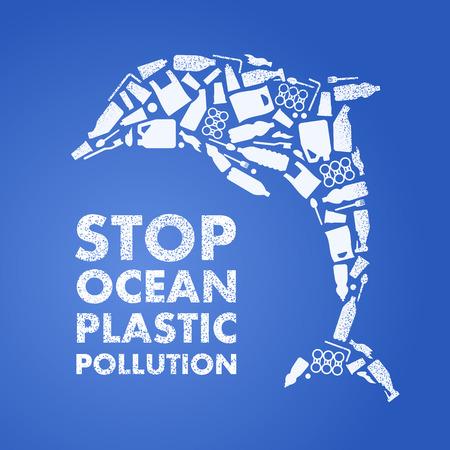 Stop ocean plastic pollution. Ecological poster. Dolphin composed of white plastic waste bag, bottle on blue background Ilustração
