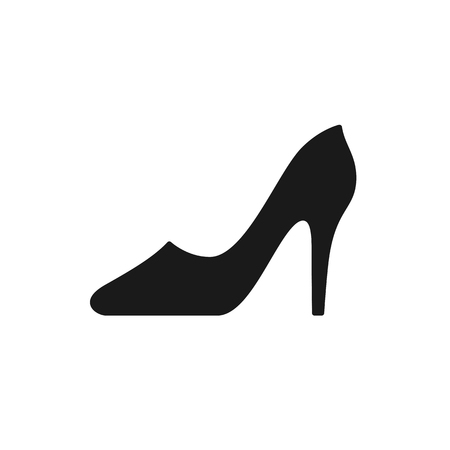 Black isolated icon of shoe with heel for women on white background. Silhouette of shoe. Flat design