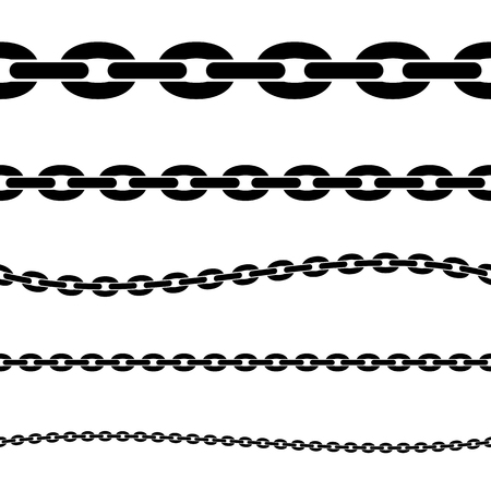 Set of black isolated silhouette of chains on white background. Seamless pattern of chain. Decorative border