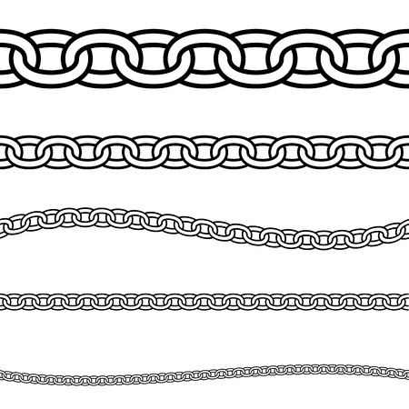 Set of black isolated outline chains on white background. Seamless pattern of line chain. Decorative border
