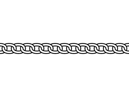 Black isolated outline chain on white background. Seamless pattern of line chain. Decorative border