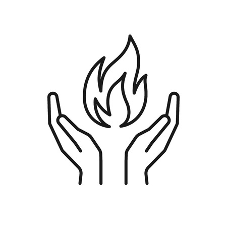 Isolated black outline icon of flame in hands on white background. Line icon of fire and hands. Symbol of healing Illustration