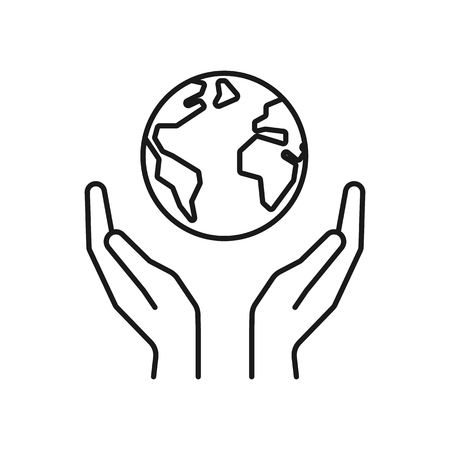 Isolated black outline icon of planet, earth in hands on white background. Line icon of globe and hands. Symbol of care, protection. Save planet