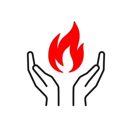 Black isolated outline icon of flame in hands on white background. Silhouette of red fire and black line hands. Flat design. Symbol of healing Stock Vector - 113960531