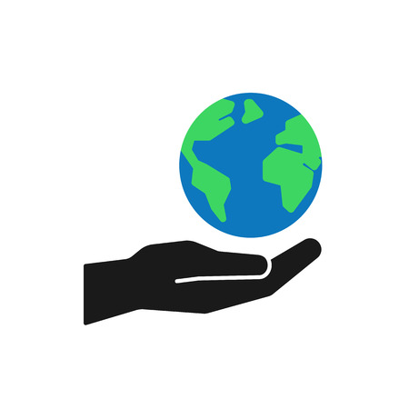 Isolated icon of green planet, earth in black hand on white background. Color globe and hand. Symbol of care, protection. Save planet. Flat design.