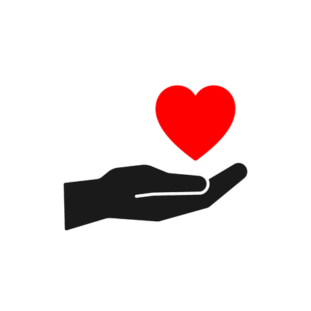 Isolated icon of red heart on black hand on white background. Silhouette of heart and hand. Symbol of care, love, charity. Flat design Ilustração