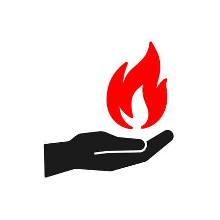 Black isolated icon of flame in hand on white background. Silhouette of red fire and black hand. Flat design