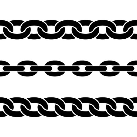 Set of black isolated silhouettes of chains on white background. Seamless pattern of chain. Decorative border Ilustração