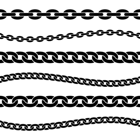 Set of black isolated silhouette of chains on white background. Seamless pattern of chain. Decorative border.