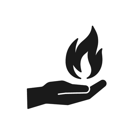 Black isolated icon of flame in hand on white background. Silhouette of fire and hand. Flat design Stock Vector - 113960601