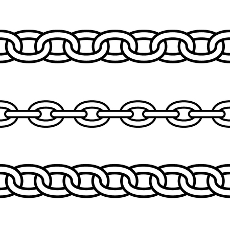 Set of black isolated outline chains on white background. Seamless pattern of line chain. Decorative borders