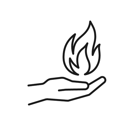 Black isolated outline icon of flame in hand on white background. Line icon of fire and hand. Symbol of healing
