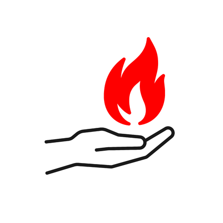Black isolated outline icon of flame in hand on white background. Silhouette of red fire and black line hand. Flat design. Symbol of healing Stock Vector - 113960576