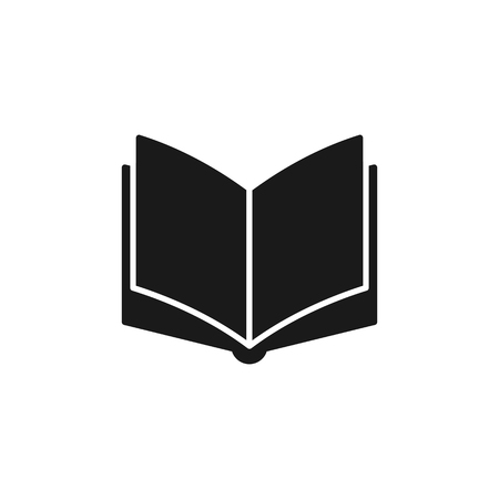 Black isolated icon of open book on white background. Silhouette of book. Flat design