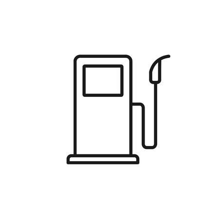 Black isolated outline icon of fuel pump on white background. Line Icon of fuel station Ilustração