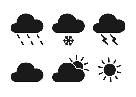 Set of black isolated icons of weather on white background. Silhouette of meteorological symbols . Flat design. Sun, snow, rain, thunderstorm, cloud Ilustração