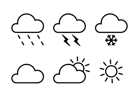 Set of black isolated outline icons of weather on white background. Line icons of meteorological symbols. Flat design. Sun, snow, rain, thunderstorm, cloud